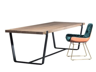 Mesa de jantar retangular de madeira BB11 CLAMP