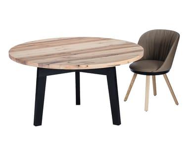 Mesa de jantar redonda de madeira maciça BB31 CONNECT | Mesa redonda