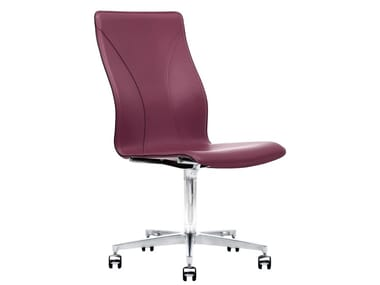 Cuoietto leather office chair with 5-Spoke base with castors BB641.14   Office chair