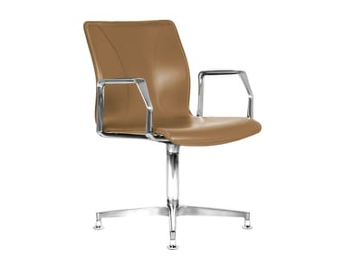 Cuoietto leather training chair with 4-spoke base BB641.4 | Chair