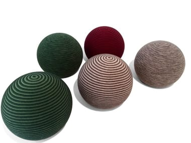 Upholstered round fabric pouf BEANIE