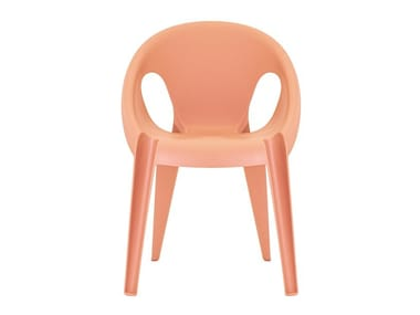 Stackable recycled polypropylene chair BELL CHAIR