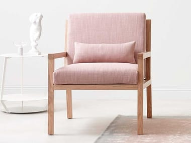 Upholstered fabric armchair with armrests BELLA