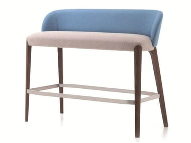 Upholstered fabric bench with footrest BELLEVUE 16