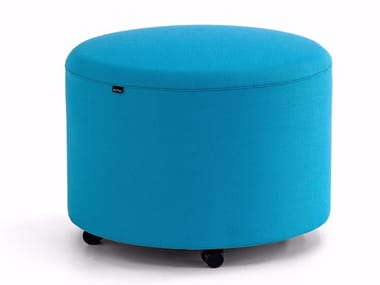 Fabric pouf with castors BEND | Pouf