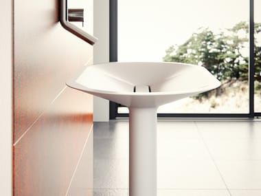 Oval pedestal Meridian Solid Surface® washbasin BENITIER-ST01