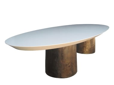 Tavolo ovale con base in bronzo BENONE | Tavolo da pranzo