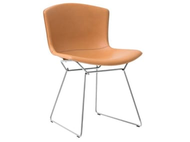 Sled base upholstered leather chair BERTOIA SIDE CHAIR | Leather chair