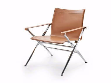 Tanned leather easy chair with armrests BEVERLY '14