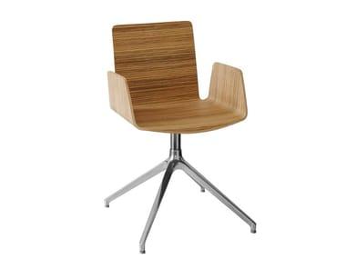 Swivel wooden guest chair with 4-spoke base BEVERLY EIFFEL