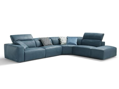 Sectional recliner leather sofa BEVERLY | Recliner sofa