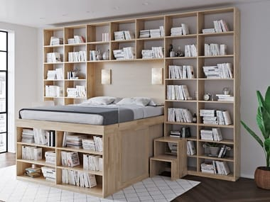 Beech storage bed with bookcase BIBLIOTECA BED