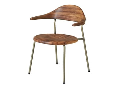 Silla apilable de acero inoxidable y madera con brazos BICORN | Silla