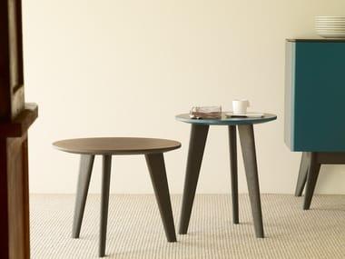 Tavolino da caffè rotondo in legno BIDULE
