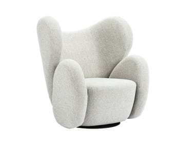 Wing swivel fabric armchair with armrests BIG BIG CHAIR
