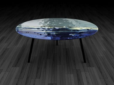 Round glass coffee table BIG BLUE
