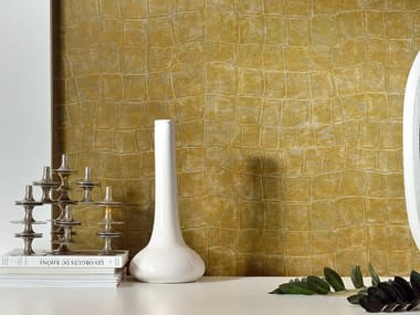 With leather effect washable vinyl wallpaper BIG CROCO