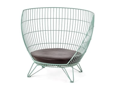 High-back stainless steel armchair BIG & SMALL BASKET