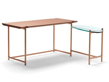 L-shaped copper office desk and oak and glass tops BIG SUR | Writing desk