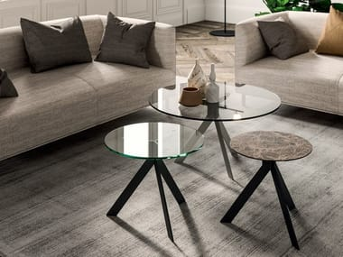 Tavolino basso rotondo in cristallo BIJOUX | Tavolino in cristallo