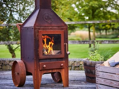 Wood-burning outdoor freestanding Corten™ fireplace BIJUGA