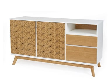 Wood veneer highboard with drawers BILBOA | Highboard
