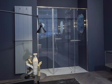 Modular crystal shower cabin with pivot door BILICO