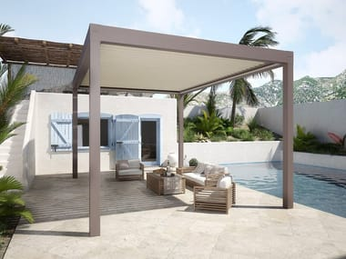 Freestanding aluminium pergola with adjustable louvers with built-in lights BIOAIR AUTOPORTANTE