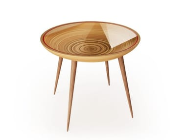 Round wood and glass living room table BIRDS AND DEER COME HERE FOR WATER...