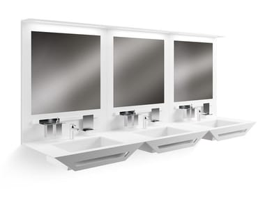 Rectangular Solid Surface washbasin with towel rail BISEL