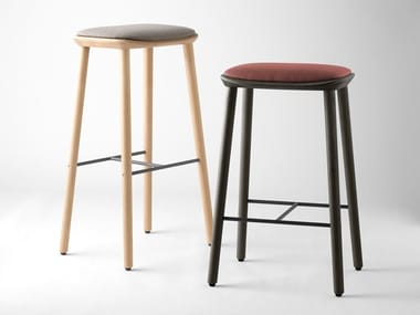 High wooden stool with footrest BISELL | Stool