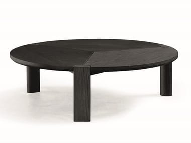 Round oak coffee table BITE | Coffee table