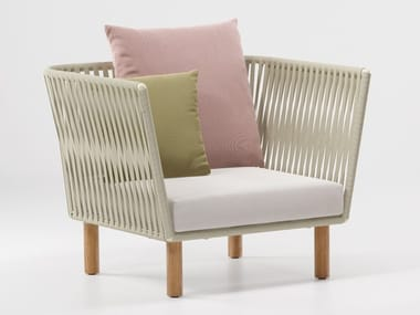 Fabric garden armchair with armrests BITTA | Garden armchair