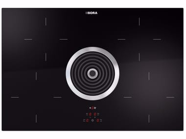 Induction glass ceramic cooktop with cooktop extractor BIU