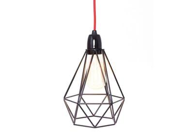 Lampada a sospensione / lampada da tavolo in metallo BLACK CAGE RED FABRIC WIRE