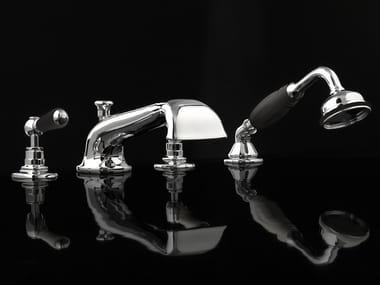 4 hole bathtub set with hand shower BLACK DANDY | 4 hole bathtub set