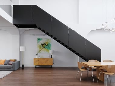 Straight steel Open staircase with lateral stringers BLACK MAMBA