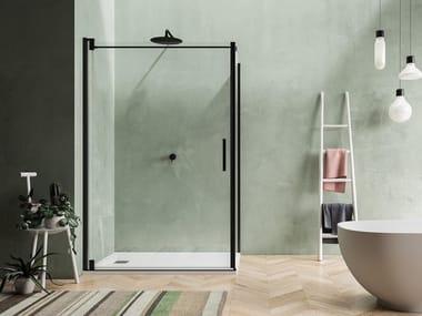 Corner shower cabin with pivot door BLACKBERRY QW+QL