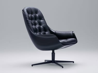 Leather armchair with 4-spoke base with armrests BLACKBIRD