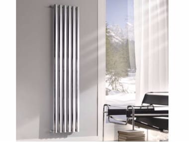 Chrome vertical wall-mounted decorative radiator BLADE