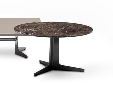 Marble coffee table with 3-star base BLAKE | Round coffee table