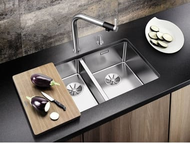 Contemporary style 1 1/2 bowl built-in undermount stainless steel sink BLANCO ANDANO 340/180-U