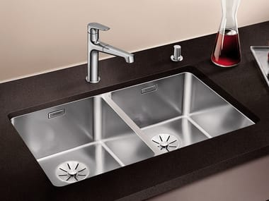 Contemporary style 2 bowl built-in undermount stainless steel sink BLANCO ANDANO 340/340-U