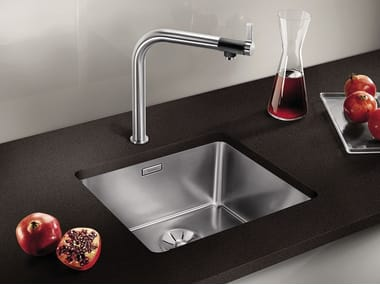 Contemporary style single built-in undermount stainless steel sink BLANCO ANDANO 450-U