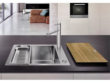 Contemporary style single built-in flush-mounted stainless steel sink BLANCO CLARON XL 60-IF/A