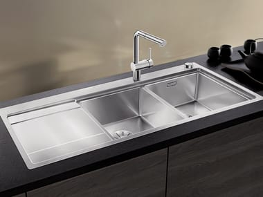 2 bowl built-in stainless steel sink with drainer BLANCO DIVON II 8 S-IF