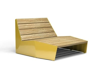 Steel and wood outdoor chair BLOC | Steel and wood outdoor chair