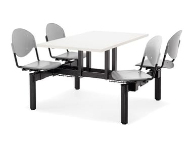 Rectangular Table for public areas with integrated seats BLOCCO MENSA | Table for public areas with integrated seats