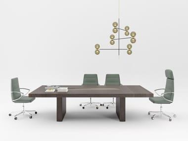 Modular rectangular wooden meeting table with cable management BLOCK 2.0 | Rectangular meeting table