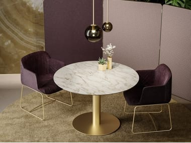 Mesa de reunião redonda de mármore BLOCK 2.0 | Mesa de reunião redonda
